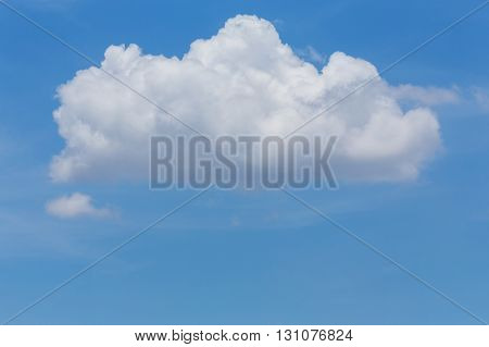 Single White Cloud On Clear Blue Sky Background