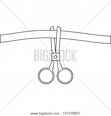 Scissors cut the ribbon. Vector conceptual illustration in the style of the line. The symbol of the grand opening.