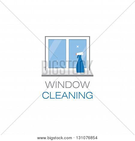 Net sparkling window and spray window cleaner on a window sill. Window cleaning. The emblem or logo of the cleaning company. Glittering window in the flat style. Vector illustration.