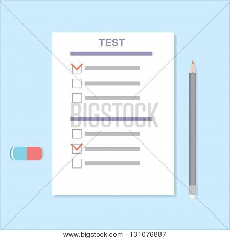 Testing. Test Execution. Vector conceptual illustration of the test a pencil and an eraser. Examination for graduates and students.
