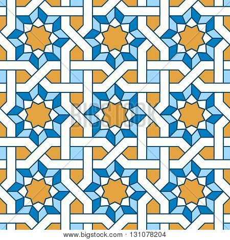 Arabic seamless pattern. Pattern fills with intertwining lines. Oriental, arabic style. Mosaic seamless patterns. Arabic ornaments. Vector illustration.