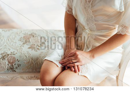 Beautiful Hands Of A Girl In Lace Negligee