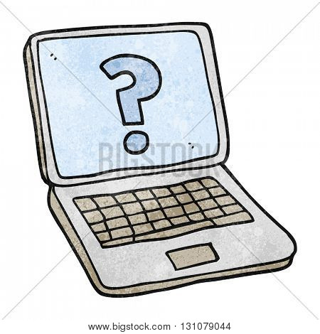freehand textured cartoon laptop computer with question mark