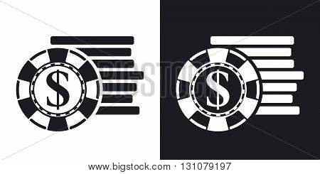 Vector gambling chips icon. Two-tone version on black and white background