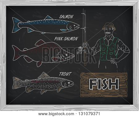 Beautiful Pattern Of Salmon, Trout And Pink Salmon. Fisherman With A Spinning Coil With A Drawing Of