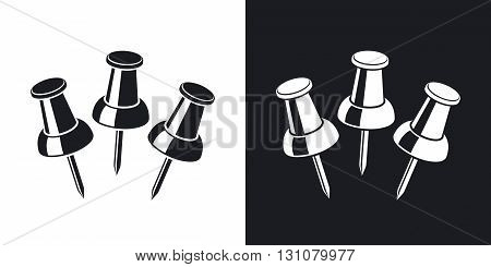 Vector thumbtacks icon. Two-tone version on black and white background