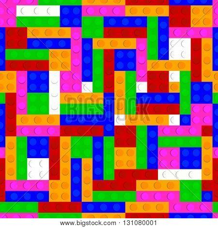 Plastic bricks vector seamless pattern background. Vector plastic toy blocks seamless pattern background.