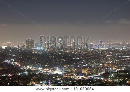 Los Angeles Skyline at Night Long Exposure
