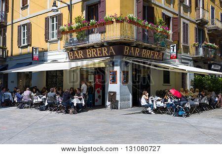Milan Italy - May 3 2012: A bar restaurant in the Brera quarter
