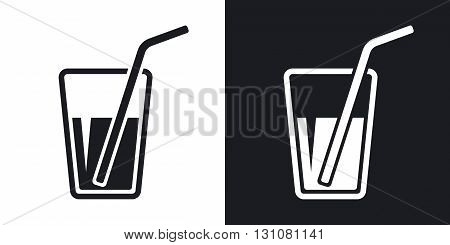 Vector glass with drinking straw icon. Two-tone version on black and white background