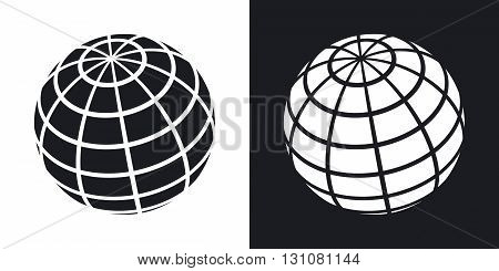 Vector globe icon. Two-tone version on black and white background