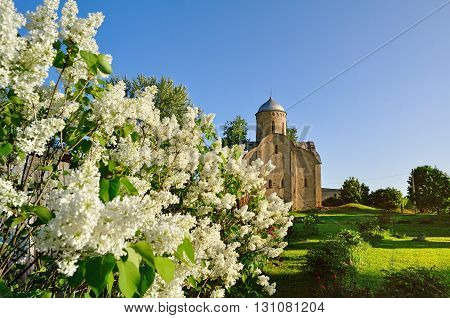The medieval Orthodox church of Peter and Paul at Slavna in Veliky Novgorod Russia. Selective focus at the church architectural spring landscape