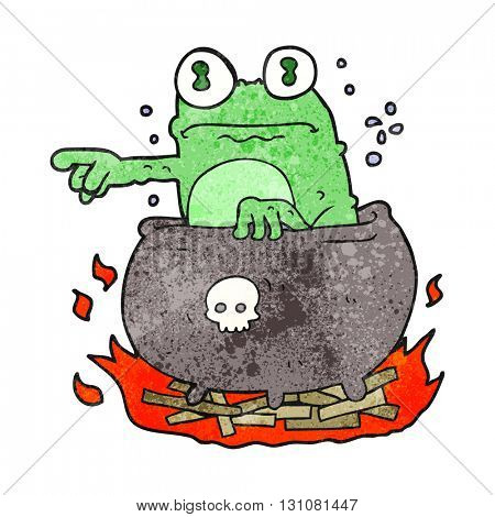 freehand textured cartoon halloween toad in cauldron