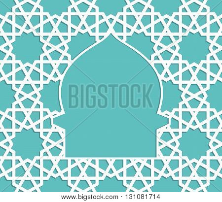 Islamic greeting card. Islamic Ramadan decoration. Mosque vector illustration.