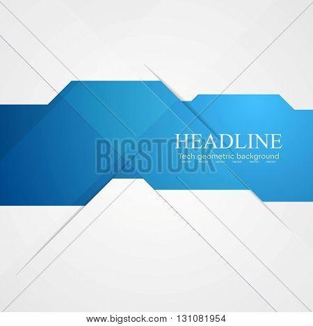 Blue geometric technology background. Vector corporate illustration