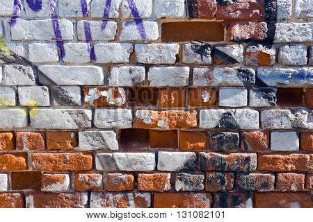 Old red brick wall Painted white paint