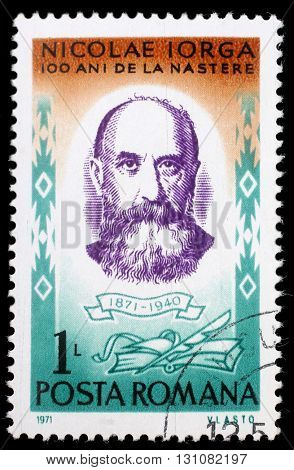 ZAGREB, CROATIA - JULY 19: a stamp printed in Romania shows Nicolae Iorga (1871-1940) Romanian historian, politician, literary critic, circa 1971, on July 19, 2012, Zagreb, Croatia
