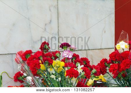 Red flowers lie at the foot of the monument of stone (white marble)
