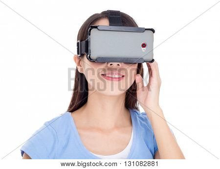 Woman watching virtual reality devicea