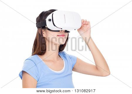 Woman looking via vr device