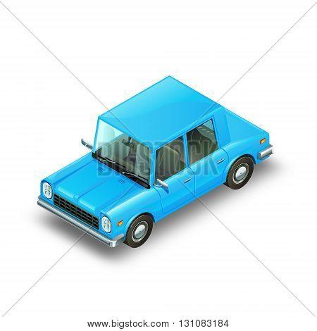 Blue isometric shiny car. Funny automobile. Isolated on white background. Vector Illustration.