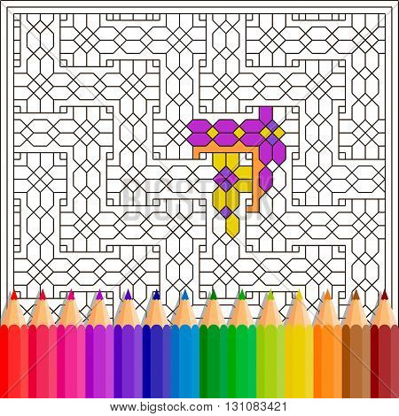 Children's coloring book features geometric pattern and colored pencils. Black outline on a white background. Vector image.