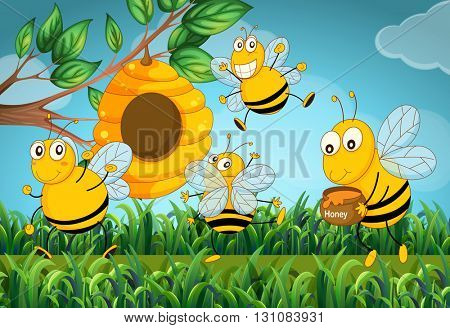 Four bees flying around the beehive illustration