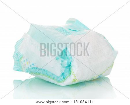 Disposable baby diapers isolated on white background.