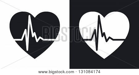 Vector heart cardiogram icon. Two-tone version on black and white background