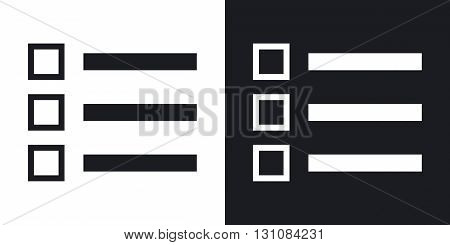 Vector list icon. Two-tone version on black and white background