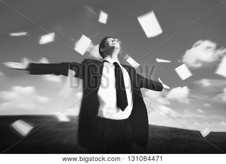 Relaxation Success Freedom Businessman Concept