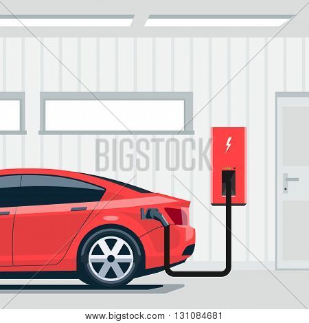 Flat vector illustration of a red electric car sedan charging at the charger station point inside home garage. Integrated smart domestic electromobility e-motion concept.