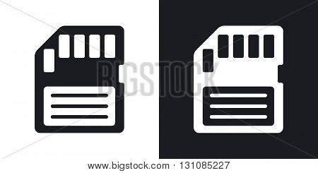 Vector memory card icon. Two-tone version on black and white background