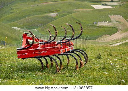 equipment. Famous Piano Grande di Castelluccio in the natural park of Monti Sibillini. Perugia Umbria Italy