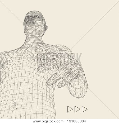 Man Pointing his Finger. Vector Illustration. 3d Polygonal Covering Skin. Human Body Wire Model.