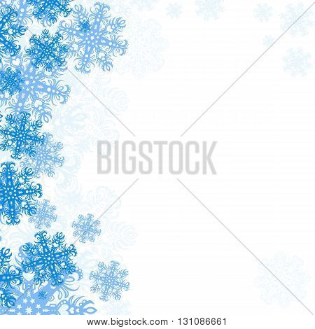 Winter background with snowflakes. Empty space for your text. New Year's Day Christmas - poster. Simple vector illustration.
