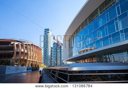 Milan Italy - January 24 2015: Porta Nuova the Three Residential Towers seen from Aulenti square