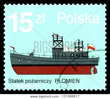 STAVROPOL RUSSIA - APRIL 28 2016: a stamp printed by Poland shows fire boat Plomien circa 1988.