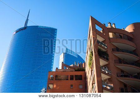 Milan Italy - January 25 2015: Porta Nuova the Unicredit Tower