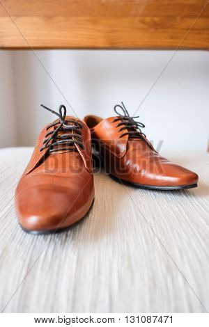 Brown leather shoes in a day light