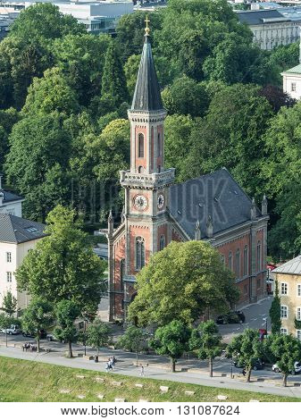 SALZBURG AUSTRIA JUNE 27: View of the outside of the Church of Christ in Salzburg 2015