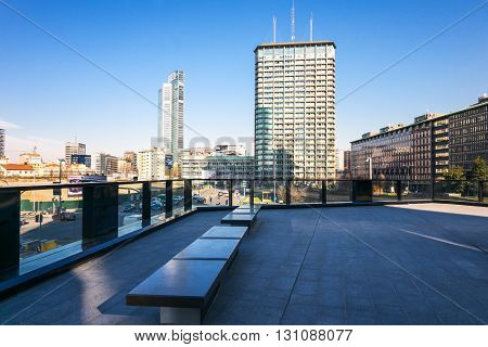 Milan Italy - January 26 2015: Porta Nuova panoramic view from from Aalto square