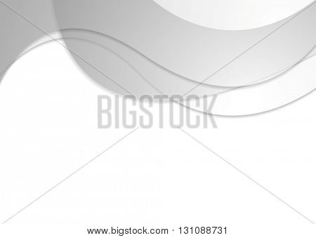 Grey corporate wavy abstract background. Vector design
