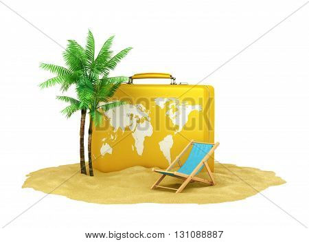 suitcase on the sand near the palm trees and beach chairs. 3d illustration