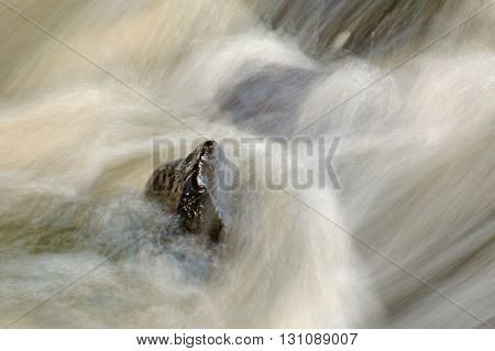 Slippery Boulders In Mountain Stream. Clear Water Blurred By Long Exposure, Reflection In Water Leve