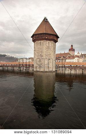 The Chapel Bridge in Luzern (Lucerne) Switzerland