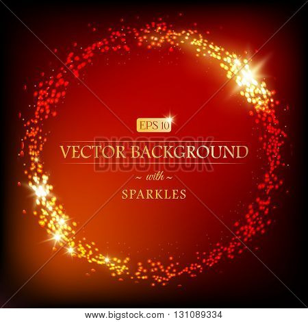 Modern luxury vector background with golden round border of sparkles. Can be used for decoration. EPS 10