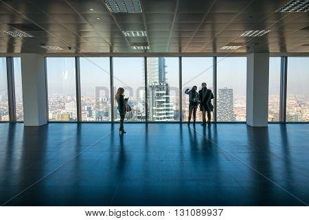 Milan Italy - February 9 2015: Porta Nuova panoramic view from the Diamond Tower inside