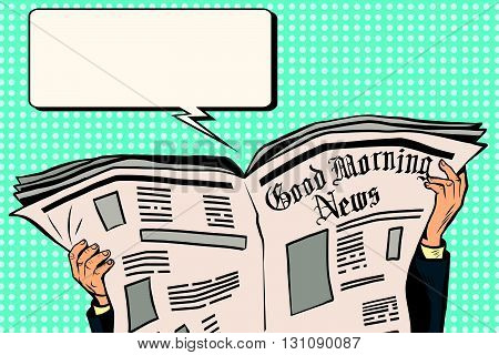 Press newspaper read news pop art retro vector.