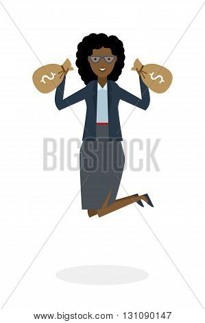 Businesswoman jumping in the air with money bag on white background. Concept of victory, business success and celebrating. Isolated happy african american businesswoman is excited.